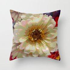 Cream zinnia Throw Pillow