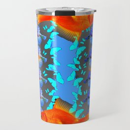 SURREAL GOLD FISH & BLUE BUTTERFLIES ARTWORK Travel Mug