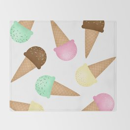 Ice Cream Pattern Throw Blanket