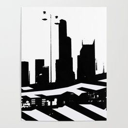 City Scape in Black and White Poster