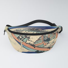 Katsushika Hokusai - 36 Views of Mount Fuji (1832) - 36: Ushibori in Hitachi Province Fanny Pack