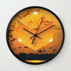 Hexagon Sunset Wall Clock