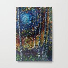 Moonlight Sonata With Aspen Trees Palette Knife Painting Metal Print