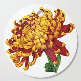 Floral Theme- Chrysanthemum Watercolor Flower Cutting Board
