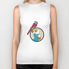 Plumber Eagle Raising Up Pipe Wrench Circle Cartoon Biker Tank