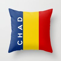 chad wys Throw Pillows featuring chad country flag name text by tony tudor