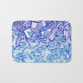 Modern china blue ombre watercolor floral lace hand drawn illustration Bath Mat
