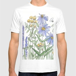 Asters and Wild Flowers Botanical Nature Floral T-shirt
