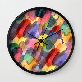 Watercolor brush blots :) Wall Clock