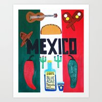 mexico Art Prints featuring Mexico by Jake Hollywood