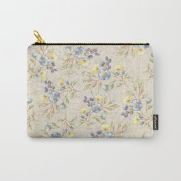 Vintage ivory linen blue yellow gold floral pattern Carry-All Pouch