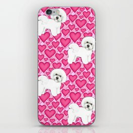 Bichon Frise Valentines Day Hearts in pink and red // Ideal valentines gift for Bichon Mom iPhone Skin