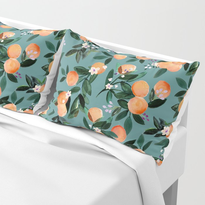 Dear Clementine - oranges teal by Crystal Walen Pillow Sham