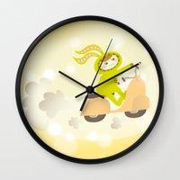 moto Wall Clocks featuring Zayaz & Moto by Olya Yang