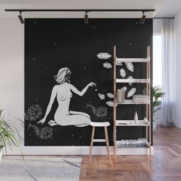 Space Goddess Putting Spells on the Stars Wall Mural