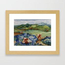 Just the Longhorns, Hanging Out Framed Art Print