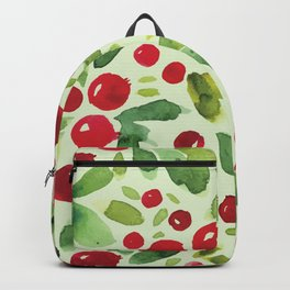 Watercolor Holly Pattern - Kitschy Christmas Holiday Print in Green and Red Backpack