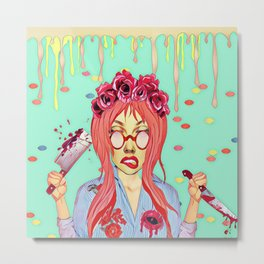 Girl and the blood Metal Print