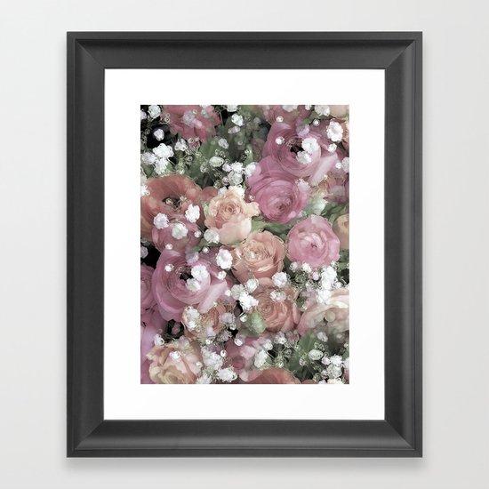 vintage pastel flowers Framed Art Print