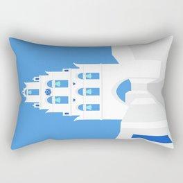 Bell Tower, Megalochori Village, Santorini, Greece Rectangular Pillow
