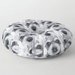 Schnauzer pattern-Grey Dog illustration original painting print Floor Pillow