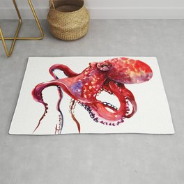Tropical Red Octopus Rug