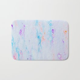 off white purple and blu psychedelic abstract paint pour Bath Mat