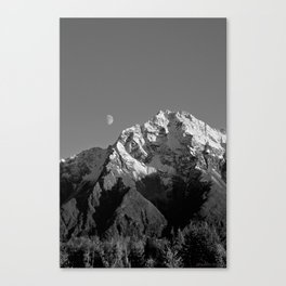 Moon Over Pioneer Peak B&W Canvas Print