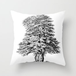 Old Tree Detailed Illustration Drawing Throw Pillow