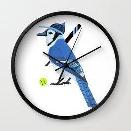 Softball Blue Jay Wall Clock