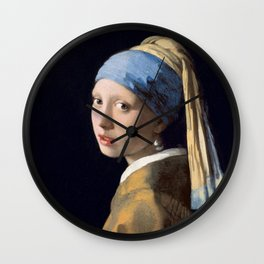 Girl with a Pearl Earring, classic painting Wall Clock