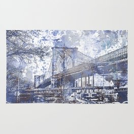 Brooklyn Bridge New York USA Watercolor blue Illustration Rug