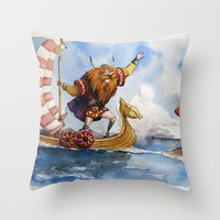 viking Throw Pillows featuring Viking by Jose Luis Ocana