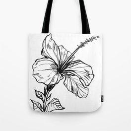 Hibiscus Ink Drawing Tote Bag