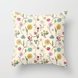 Hand-drawn garden in cream Throw Pillow