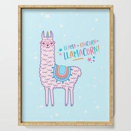 llama unicorn llamacorn pink lama alpaca funny cute gift Serving Tray