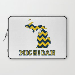 Collegiate Michigan Maize and Blue Chevron Pattern Laptop Sleeve