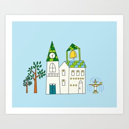 CharmVille Church, blue Art Print