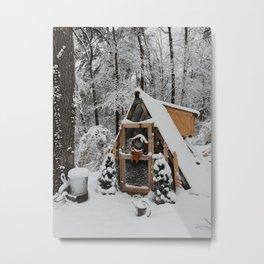 Snowy Coop Metal Print