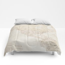 Vintage sepia map of America - PRINTS in L and XL only Comforters