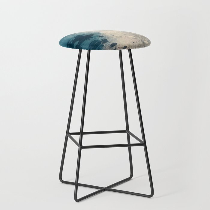 Embrace: a minimal, abstract mixed-media piece in blues and gold with a hint of pink Bar Stool