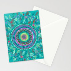 leafy Turquoise Mandala Stationery Cards