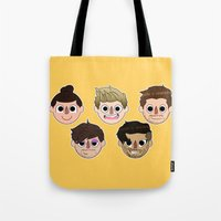 animal crossing Tote Bags featuring Animal Crossing One Direction by Pinkeyyou