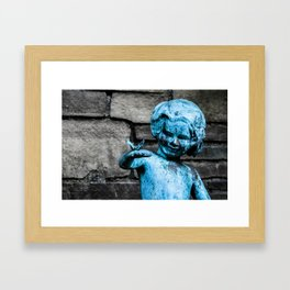 Copper Statue Child and Butterfly Framed Art Print