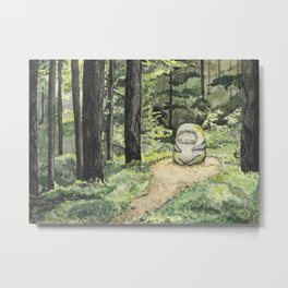 Statue in a Forest Watercolor Painting Metal Print