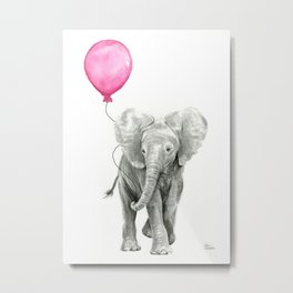 Elephant Watercolor Pink Balloon Baby Animal Nursery Girl Art Metal Print