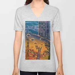 Time through Time, from Caves to Skyscraper, from Organic to Geometric Unisex V-Neck
