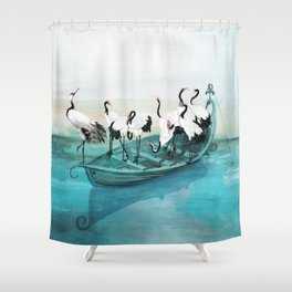 White Cranes Shower Curtain