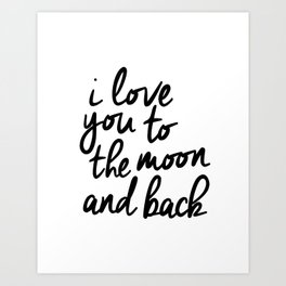 I Love You to the Moon and Back black-white kids room typography poster home wall decor canvas Art Print