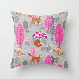 Foxes in Galoshes - Pink and Gray Throw Pillow